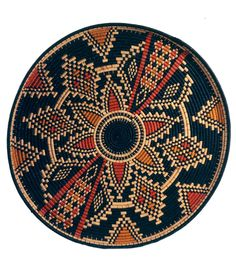 Africa | Basketry tray from Tizi Ouzou, north central Algeria | Plant fiber and dyes.