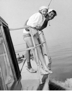 Lucy and Desi onboard their boat the Desilu...