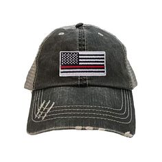 3669f10f95a Go All Out One Size Black Grey Adult Thin Red Line Flag Embroidered  Distressed Trucker Cap