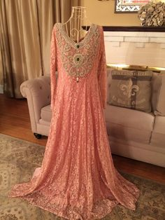 French lace pink gown dress long sleeve Pakistani Indian  by faizapervaiz on Etsy https://www.etsy.com/listing/229944454/french-lace-pink-gown-dress-long-sleeve