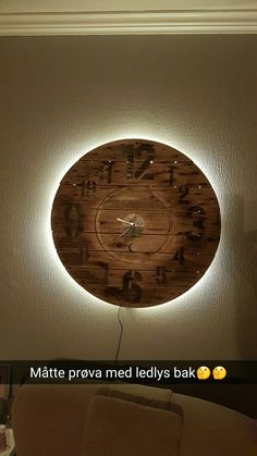 Clock with led lights behind.