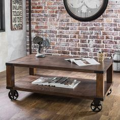 Timbergirl Reclaimed Wood Industrial Cart Wheels Coffee Table (India)    Overstock Shopping   Top Rated Coffee, Sofa U0026 End Tables Coffee Table, Book  Table, ...