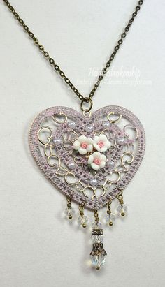 Heart and Roses Necklace with beaded dangels