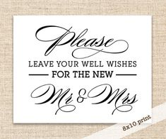 Guest Book Wedding Sign - Printable DIY 8x10 Sign - Wedding Reception Well Wishes Sign for Guest Book Table in Calligraphy Font