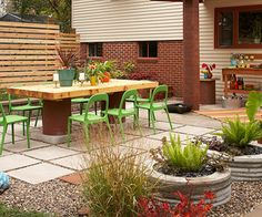 BHG On-a-Budget Patio Makeover. Cool outdoor dinner table