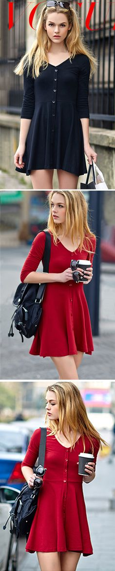 Cute and casual outfit red dress for christmas morning Day Dresses, Dress Outfits, Casual Dresses, Cute Outfits, Fashion Font, Women's Fashion, Dress Skirt, Dress Up, Bodycon Dress
