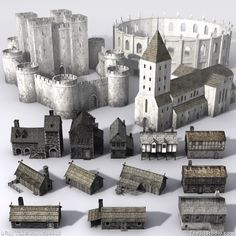 3d models Medieval Building Collection Low Poly