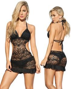 Sexy Black Beach Swimwear Sheer Crochet Cover Up Dress