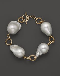 14K Yellow Gold Heavy Twist Link Baroque Pearl Bracelet | Bloomingdale's