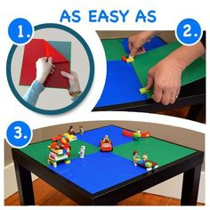 The absolute easiest way to create your own play table for your little builders! -- It is truly as simple as peel-and-stick! Give your kids the gift of an…