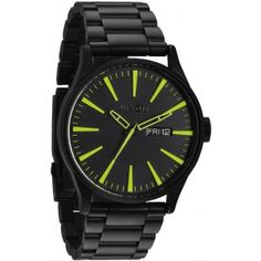 Nixon The Sentry Sterling Silver Watch in All Black Lum Gents Watches, Cool Watches, Watches For Men, Nixon Watches, Unique Watches, Wrist Watches, Black Stainless Steel, Stainless Steel Watch, Stainless Steel Bracelet