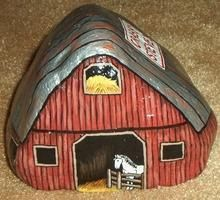 Cool rock painting of barn with horse ... painted rock .... rock art