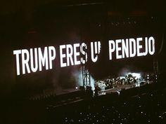 """Ayer, 28 de septiembre, las casi 60 mil personas que asistimos al concierto de Roger Waters en el Foro Sol quedamos anonadados por las fuertes críticas que el cantante hizo a la clase política; especialmente al magnate Donald Trump.Mientras el británico cantaba """"Dogs"""" y """"Pigs"""", las pantallas gigantes se encargaron de difundir frases pronunciadas por el candidato republicano, así como ilustraciones en donde el magnate fue ridiculizado en varias ocasiones."""