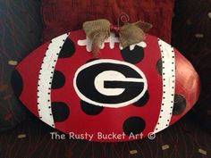 Georgia football door hanger #therustybucketart #doorhanger #georgia #football