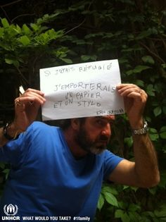 If football legend Eric Cantona was  forced to flee, the most important thing he would bring with him is a pen and paper. - Visit 1 family - http://www.unhcr.org/1family/