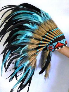 Indian Turquoise and black Feather Headdress by THEWORLDOFFEATHERS