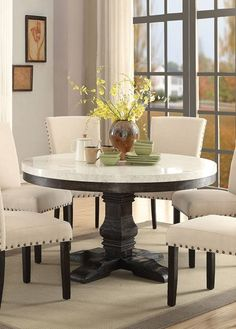 462 Acme At Cly Home Cream Marble Top Furniture Nolan Pedestal Dining Table Black Dinning