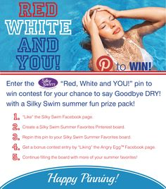Enter Silky Swim's Red White and YOU! Pin to Win contest for your chance to win a Silky Swim prize pack! Contest ends July 3rd. #contest #pintowin #pool