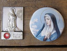 St. Dymphna Medal Vintage Catholic Relics by WhatsNewOnTheMantel