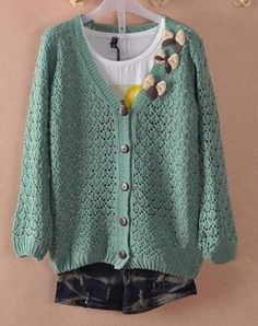 $10.99 Fashion Hollow-Out Bow Cardigan Sweater at Online Apparel Store Gofavor