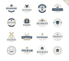 16 Vintage Logotypes or Badges by Vasya Kobelev on @creativemarket