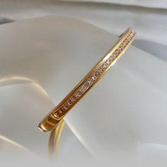 Vintage Channel Set Rhinestone Bracelet. Gold Plated. by waalaa, $34.99