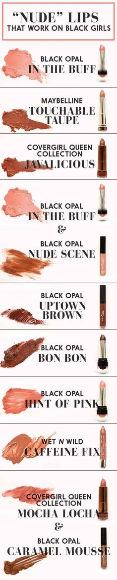 "Here's a chart of the ""nude"" lip colors that actually work on women of color:"