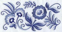 Blue Delft Artist's Patterns   Delft Blue Flower Fiesta Border