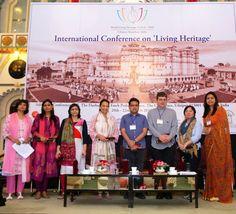 Workshop session on 'Safe-guarding the Living Heritage of Udaipur'  Key Panelists (from left to right) - Dr. Shikha Jain, Dronah, Gurgaon; Ms. Niriti Porwal, Maharana of Mewar Charitable Foundation (MMCF) Resource Person; Ritu Deshmukh, Mumbai; Ms. Amita Baig, WMF; Mr. Rohit Jigyasu, ICOMOS; Mr. Kai Weise, Nepal; Ms. Moe Chiba, UNESCO India Office, New Delhi and Ms. Vrinda Raje Singh, CEO, Joint Custodianship Initiative Program, Eternal Mewar, Maharana of Mewar Charitable Foundation (MMCF)