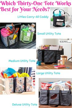 Whether you need something for storage, organization or on-the-go, check out the tote options that will help meet your needs. Thirty One Uses, My Thirty One, Thirty One Gifts, Thirty One Diaper Bags, Baby Diaper Bags, 31 Organization, Thirty One Business, Large Utility Tote, Pvc Windows