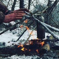 Warm. #fire #campfire #coffeinthemaking #coffee #snow #outdoors #outdoorsman #woodsman