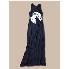 Womens Boho Wolf Howling at the Moon Gypsy Bohemian Tank Top Long... ($34) ❤ liked on Polyvore featuring dresses, navy and women's clothing