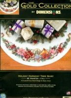 """Dimensions Gold Collection """"Holiday Harmony"""" Tree Skirt Pattern"""