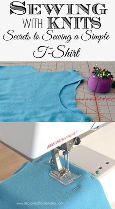 Sewing a simple knit T-Shirt is and easy DIY project than anyone can accomplish. All you need to know are a few things and you will be sewing t-shirts for everyone you know. #seasonedhome