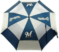 """MLB Milwaukee Brewers Umbrella, Navy by Team golf - 62"""" Umbrella Double canopy wind protection design 100-Percent nylon fabric 4 location imprint and printed sheath Auto open button. http://www.umbrellaforsale.com/mlb-milwaukee-brewers-umbrella-navy/"""