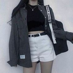 Korean fashion has been trending for many years, and it's for good reasons. With Korean's approach to outfits, accessories, and shoes, it is no doubt how many people search for Korean fashion trends for great looks. Edgy Outfits, Mode Outfits, Grunge Outfits, Grunge Fashion, Girl Outfits, Fashion Outfits, Fashion Ideas, 90s Fashion, Casual Korean Outfits