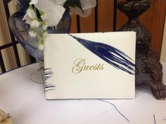 Peacock themed wedding- we took the royal blue peacock feathers and a $3 guest book and created a personalized guest book.