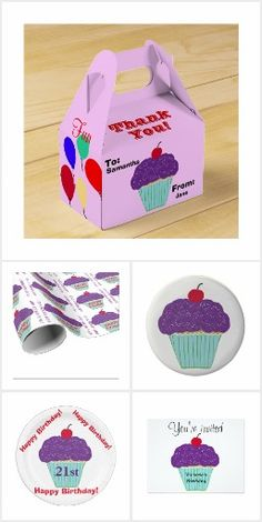 Yummy Purple Frosting Vanilla Cupcake Cherry Birthday Invitation Sets to PERSONALIZE for Any Age or Occasion!   Custom Postage Stamps, Favor Boxes, Paper Plates & Napkins, Wrapping Paper, Edible decorated Brownies and more! Original Graphic Art Hand-Painted Digital Designs by TamiraZDesigns via:   www.zazzle.com/tamirazdesigns*