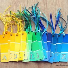 Pin for Later: 221 Upcycling Ideas That Will Blow Your Mind Paint Chip Alphabet Bookmarks Another creative way to make paint chip bookmarks. The possibilities are endless!  Source: Scissors and Spoons