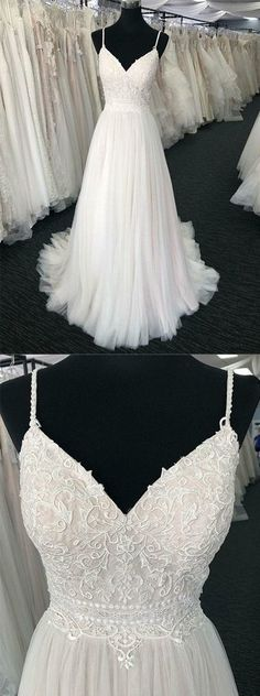 Charming Spaghetti Straps White Wedding Dresses Appliques With Ruffles by MeetBeauty, $163.98 USD
