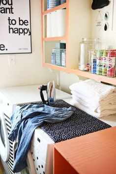 Large ironing boards are great, but not fit for small spaces. This magnetic version stays in place on top of your machine and then neatly folds for storing. Get the tutorial at A Beautiful Mess »  - GoodHousekeeping.com