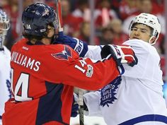 Game 1: Capitals wing Justin Williams (14) scuffles