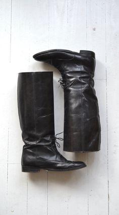 Cordones botas de jinete  Vintage negro botas de montar