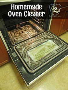 Homemade Oven Cleaner ~ To make this cleaner, mix 8 tbsp baking soda, 8 tbsp Dawn dish liquid, and 6 tbsp vinegar in a large bowl. Trust me on the large bowl thing...