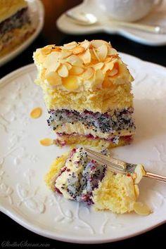 Makowo wonderful cake with coconut-cream Ajerkoniakowym - Recipe - Sweet Home No Bake Desserts, Delicious Desserts, Dessert Recipes, First Communion Cakes, New Cake, Polish Recipes, No Bake Cake, Sweet Recipes, Cookie Recipes
