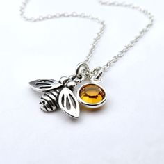 Honey Bee Necklace Sterling Silver With Custom Birthstone, Silver Queen Bee Dainty Bumble Bee Pendant, Sterling Bee Charm Necklace, Tiny Bee by CrystalSongJewels on Etsy https://www.etsy.com/listing/217833720/honey-bee-necklace-sterling-silver-with