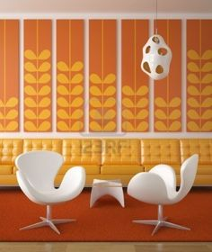 Illustration about Retro interior design in orange and yellow colors with two white chairs in front. Illustration of seat, interior, design - 9919660 Retro Interior Design, Mid-century Interior, Yellow Interior, Retro Design, Interior Design Inspiration, Interior Decorating, Camper Interior, Interior Colors, Room Inspiration