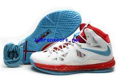 bcb102ae87ea Lebron New Shoes 10 Home White Crimsons Chlorine Blue 541100 001 Cheap Nike