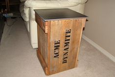 """Dynamite Crate"" End Table from Old Pallet #furniture #reuse #upcycle #woodworking"