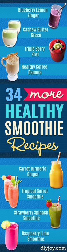 Healthy Smoothie Recipes  - Easy ideas perfect for breakfast, energy. Low calorie and high protein recipes for weightloss and to lose weight. Simple homemade recipe ideas that kids love. Quick EASY morning recipes before work and school, after workout http://diyjoy.com/healthy-smoothie-recipes